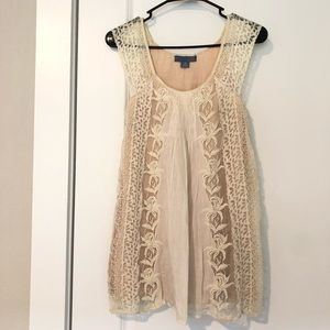 ANTHROPOLOGIE Lace White Tunic Top XS